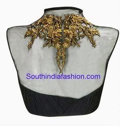 black high neck net blouse