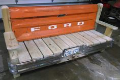 Ford Tailgate bench with bumper by TailgateGuy on Etsy