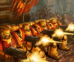 """Imperial Fist Siege Force-Warhammer 40000:Conquest"" by Jacob Atienza (jubjubjedi) | #SciFi #Warhammer40K #WH40K"