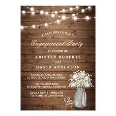 Baby's Breath Mason Jar Rustic Engagement Party Invitation