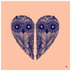 love heart owls draw // dibujo buhos corazon