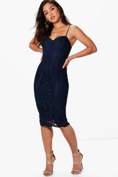 2891ba8dcd Boutique Isla Mesh Panelled Strappy Midi Dress $49 boohoo Navy Midi Dress,  Skater Dresses,
