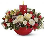 Red candle flowers on christmas arrangement.JPG