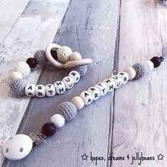 Crochet dummy clip to match teether / 'Arthur' Toy clip / personalised / Fiddle beads / Chewelery / Pacifier / Baby shower gift / Teething Babies, Teething Pacifier, Teething Toys, Wedding Shower Gifts, Baby Shower Gifts, Gift Wedding, New Baby Gifts, Gifts For Her, Bracelets