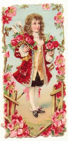 Oblaten-Glanzbilder-scrap-chromo: Feiner Rosenkavalier - um 1900 de.picclick.com