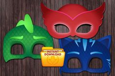 PJ Masks Printable DIY Mask Favor  Custom DIY by PartyDesignsDIY
