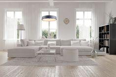 Baltas, estetikos kupinas interjeras, erdvi svetainė ir tamsiai pilkas, pakabinamas šviestuvas GRAU.