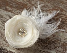 Ivory wedding hairpiece flower bridal hair accessories pearls feathers wedding hair fascinator lace hair clip rhinestone, fascinator