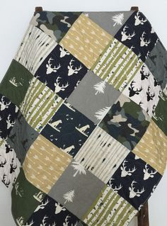 Baby Quilt Boy Dogs Ducks Moose Deer Guns Camo by CoolSpool