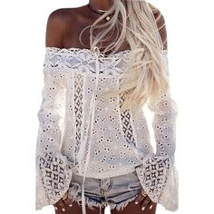 ECOWISH Women's Sexy Lace Crochet Off Shoulder Long Sleeve Casual... ❤ liked on Polyvore featuring tops, blouses, sexy shirts, long sleeve button up shirts, long sleeve lace shirt, long sleeve lace blouse and lace blouse