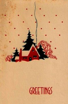 Christmas Cards - Vintage Christmas Card Art Deco Cottage Trees Smoke Winter Scene 1930 s Christmas Graphics, Diy Christmas Cards, Christmas Scenes, Christmas Past, Xmas Cards, Christmas Greetings, Christmas Holidays, Homemade Christmas, Vintage Christmas Images