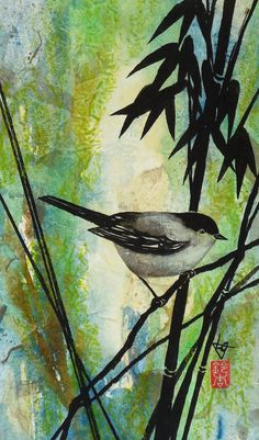 """Bird with Bamboo Original Ink and Watercolor Painting on Paper Collage, Japanese Art, Asian Art, Zen, 7 x 11.5"""" Lynn Gobble 15% OFF COUPON by LynnGobble on Etsy"""