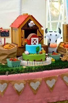 Farm + Barnyard themed party via Kara' s Party Ideas KarasPartyIdeas.com Recipes, cakes, printables, games, favors, and MORE! #farm..