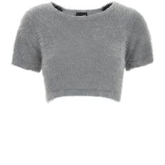 **Cher Fluffy Crop Top by Illustrated People ($26) ❤ liked on Polyvore featuring tops, crop top, shirts, charcoal, nylon shirt, shirts & tops, illustrated people and shirt crop top