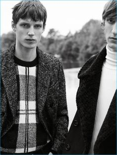 Left to Right: Callum Ward wears a herringbone coat with a check sweater. Tim Dibble sports a double-faced coat with a turtleneck sweater by Zara Man.