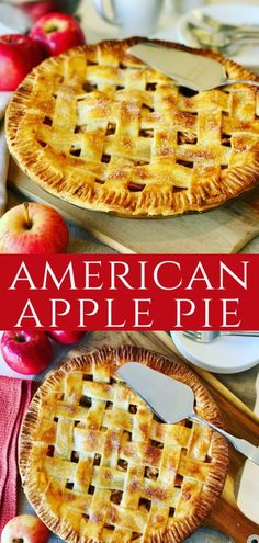 Kuchen Amerikanisch This Classic Apple Pie recipe is a family favorite! As American as Apple Pie, made with fresh apples, brown sugar, cinnamon with a shortcrust lattice pastry. This will be the only apple pie recipe you'll need! Fresh Apple Pie Recipe, Deep Dish Apple Pie, Best Apple Pie, Apple Pies, Apple Pie Pastry, Blueberry Pie Recipes, Apple Pie Recipes, Kids Pie Recipes, Meal Recipes