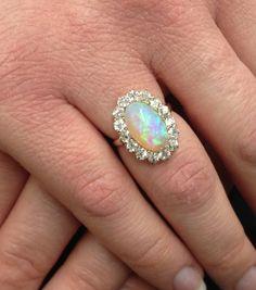 Fiery Cosmos Victorian Opal & Diamond 14k Ring