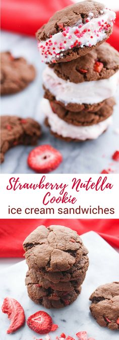 Strawberry-Nutella Cookie Ice Cream Sandwiches are a fun dessert any time of year. You'll love these Strawberry-Nutella Cookie Ice Cream Sandwiches! #cookies #icecreamsandwich #nutella #dessert #valentinesday