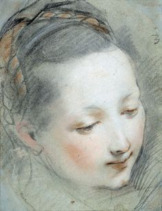 Study for the Head of the Virgin Mary for the Annunciation -- Federico Barocci -- Italian -- Chalk & pastel on blue paper. Chalk Drawings, Art Drawings, Life Drawing, Painting & Drawing, Figure Drawing, Trois Crayons, National Gallery, The Royal Collection, Exhibition Display