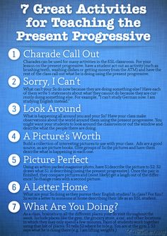 POSTER: 7 Great Activities to Teach the Present Progressive