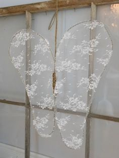Love the heart made of chicken wire and tulle in this blog.