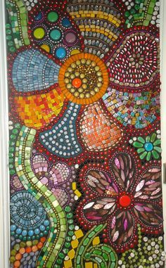 """my back is not up to me making a creative path like this, but this is what I want - Mosaic Art - """"Flowers in Motion"""". via Etsy. Mosaic Crafts, Mosaic Projects, Art Projects, Mosaic Wall, Mosaic Glass, Mosaic Tiles, Stained Glass, Mosaic Madness, Mosaic Designs"""