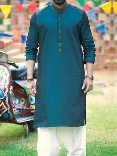 latest sea green best pakistani men kurta shalwar kameez designs 2017 with white shalwar