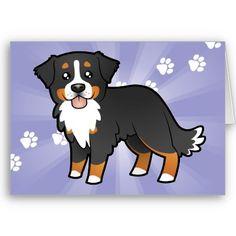 Cartoon Bernese Mountain Dog Greeting Card