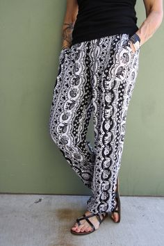 Black & White Harem Pants. They go with everything! White Harem Pants, Carry On, Black And White, Collection, Style, Swag, Hand Luggage, Black N White, Carry On Luggage