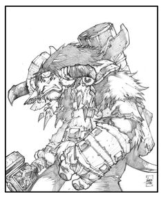 Baine Bloodhoof by Ludo Lullabi Cartoon Sketches, Cool Sketches, Baine Bloodhoof, Character Sketches, Character Design, Reference Manga, Art Studio Room, Pop Culture Art, Comic Drawing