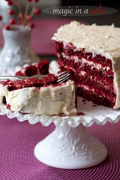 Red velvet cake , the only way to eat this cake is with a coconut frosting and a few extra tweaks my grandmother threw into the recipe over the years , making it her own. Best Cake EVER!