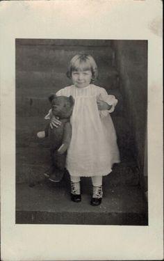 1910 AZO RPPC Pretty Little Girl Button Shoes Teddy Bear Steiff? Post Card Photo