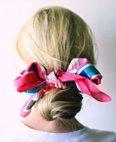 pinterest-hair-buns-scarf-wrapped-low-chignon