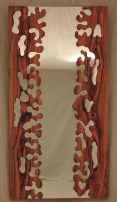 ( formas ) espejo en madera de olivo  madera de olivo talla manual