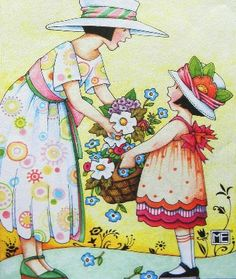 ✯Mom and daughter with flowers
