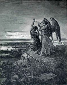 (via Jacob Wrestling with the Angel (B & W 1866) - Gustave … | Le grand …)
