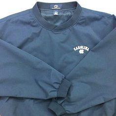 UNC Tar Heels North Carolina Size 2X Pullover V-Neck Wind Shirt Microfiber Blue