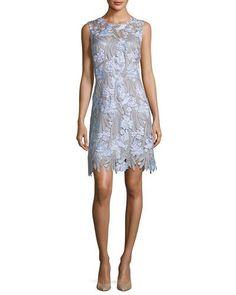 ELIE TAHARI TALLULAH FLORAL-APPLIQUÉ SLEEVELESS DRESS. #elietahari #cloth #