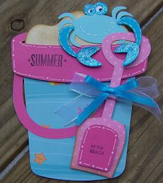 Cricut  Beach Bucket Card. Life's a Beach Cartridge.  *