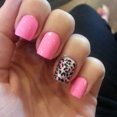 Solid pink with ring finger accent nail—silver background with black an pink leopard spots!!! #SoCute