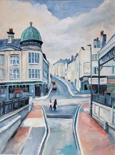 Eril Nisbett - Brighton Station - oil on paper on board. Landscape Art, Landscape Paintings, Painter Artist, Oil Painters, Australian Artists, Brighton, Artworks, Street View, Portrait