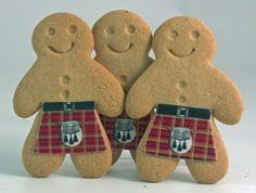 Gingerbread men wearing kilts!