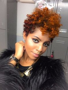 Color-for-Natural-Hair Gorgeous Ideas About Pixie Cut for Black Women Natural Hair Care, Natural Hair Styles, Pixie Cut Blond, Pelo Afro, My Hairstyle, Updo, Natural Hair Inspiration, Great Hair, Black Women Hairstyles