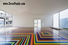 3rd floor art patterns and floating floor, brightly striped flooring ideas