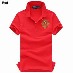 Polo Ralph Lauren Men Cotton Mesh Short Sleeve Shirts Red