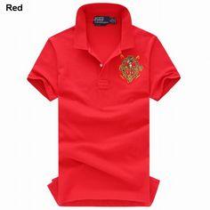 Polo Ralph Lauren Men Cotton Mesh Short Sleeve Shirts Red