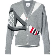 Thom Browne Classic V-neck Cardigan With Tennis Racket Intarsia In... ($1,890) ❤ liked on Polyvore featuring men's fashion, men's clothing, men's sweaters, grey, mens gray v neck sweater, mens vneck sweater, mens v-neck cashmere sweaters, mens grey v neck sweater and men's v neck cardigan sweater