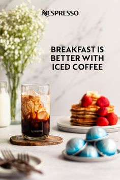 Here's a breakfast idea: a tall glass of iced coffee and a stack of pancakes topped with in-season berries. Your summer meals are better with Nespresso Iced Coffee, refreshingly simple to make at home. Nespresso Usa, Nespresso Recipes, Blended Coffee, Iced Coffee, Coffee Drinks, Pancake Stack, Home Coffee Stations, Coffee Crafts, Breakfast Menu