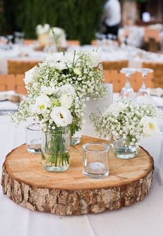 Ideas On How To Make Wedding Centerpieces ★ how to make wedding centerpieces babys breath in the mason jar table decor Learn how to make wedding centerpieces from this post and give your decor a facelift. Wedding centerpieces DIY saves you a ton of cash. Wedding Reception Ideas, Wedding Table Centerpieces, Wedding Flower Arrangements, Flower Centerpieces, Rustic Wedding, Wedding Flowers, Wedding Decorations, Decor Wedding, Fall Wedding