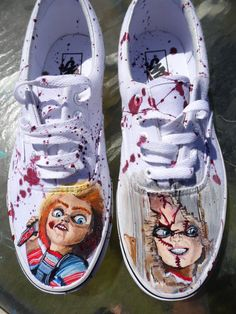 Ready To Mail Custom Painted Vans Horror Chucky Doll Size 10 Mens / 11.5 Womens Tie up shoes
